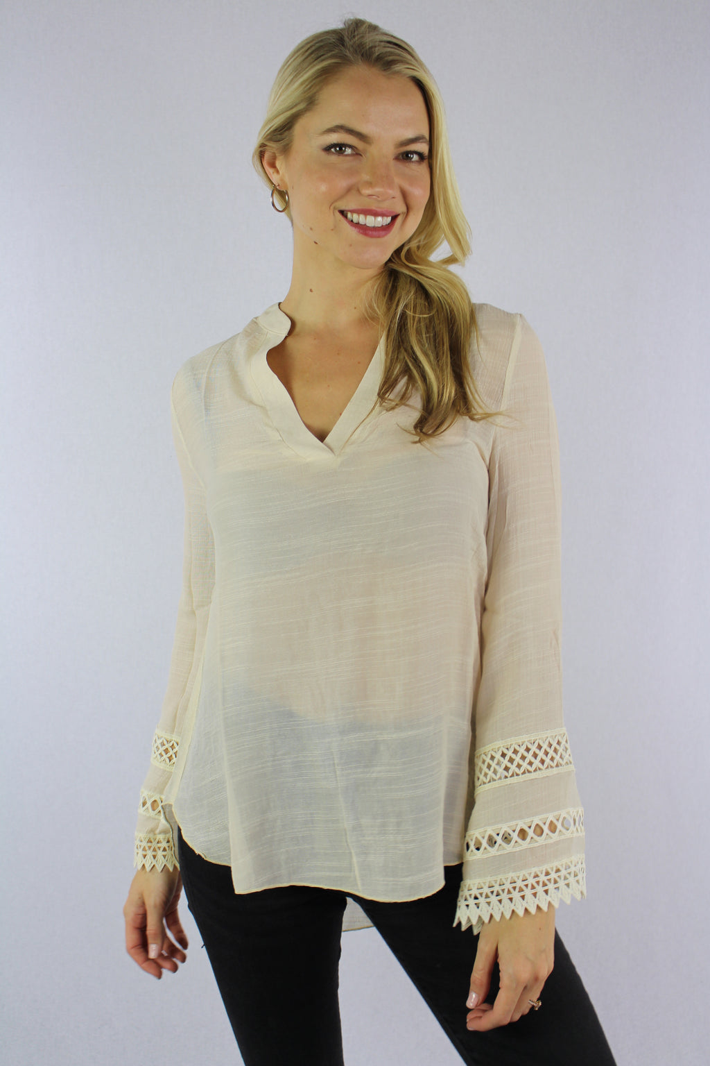 Women's Long Sleeve Top with Crochet Detail