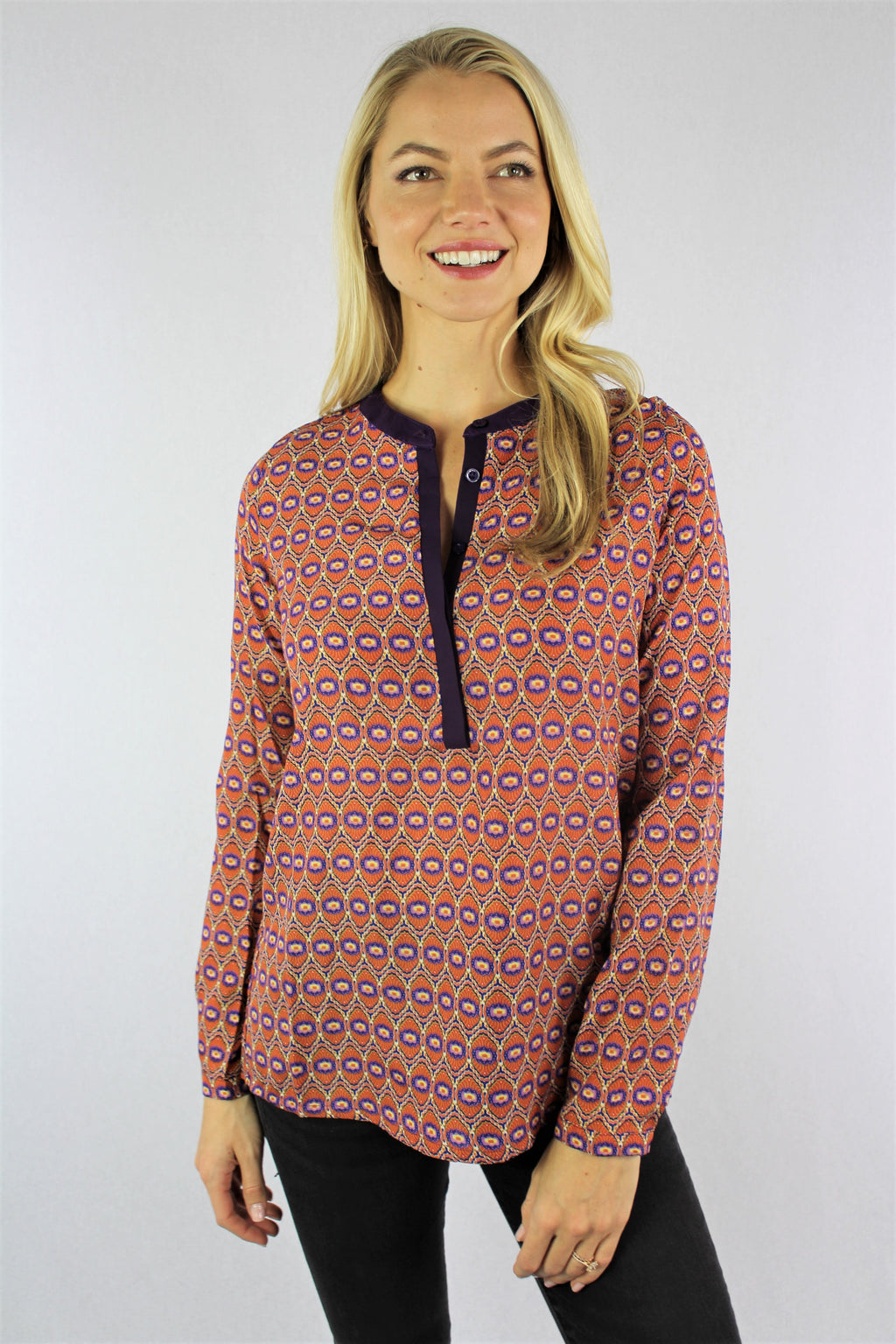 Women's Long Sleeve Printed Top with Front Button