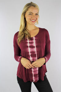 Women's Tie Dye Long Sleeve Top with Front Pocket