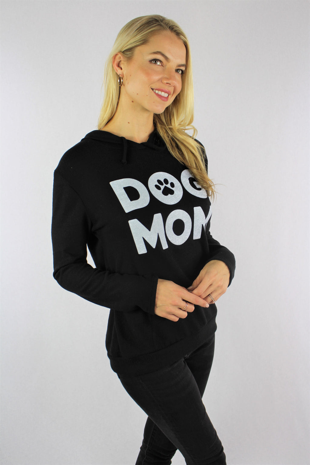 "Women's Long Sleeve ""Dog Mom"" Hooded Sweater"