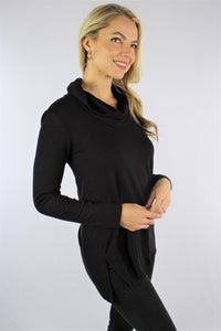 Women's Long Sleeve Cowl Neck Top with Cut-Out Detail