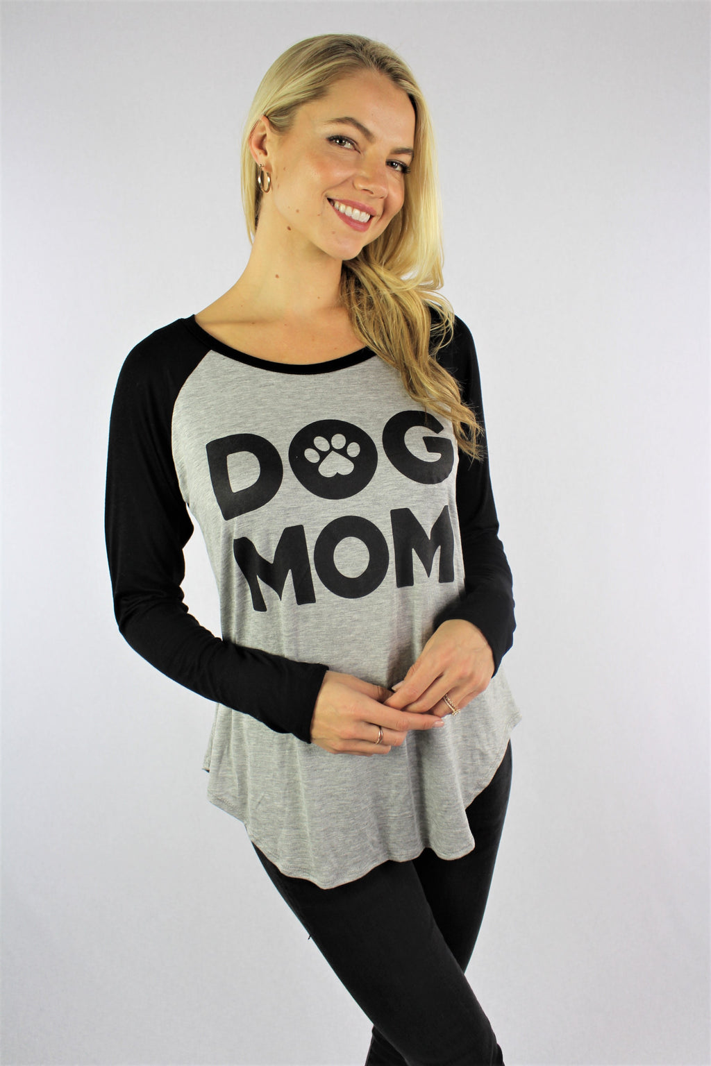 Women's Long Sleeve Dog Mom Raglan Top