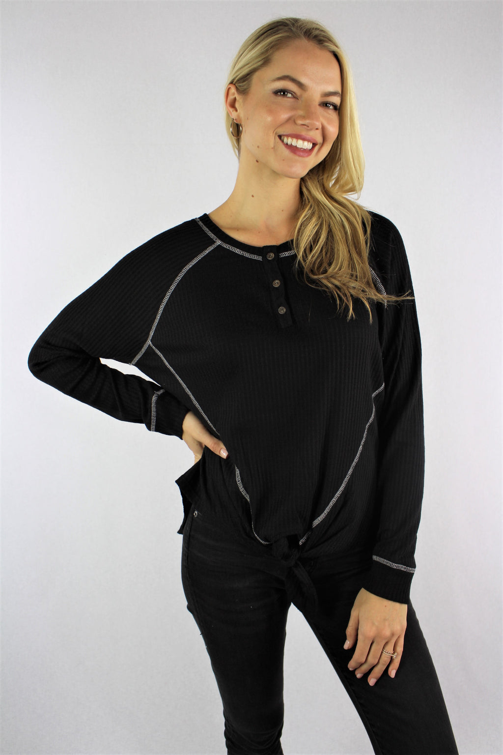 Women's Long Sleeve Raglan Top with Front Knot