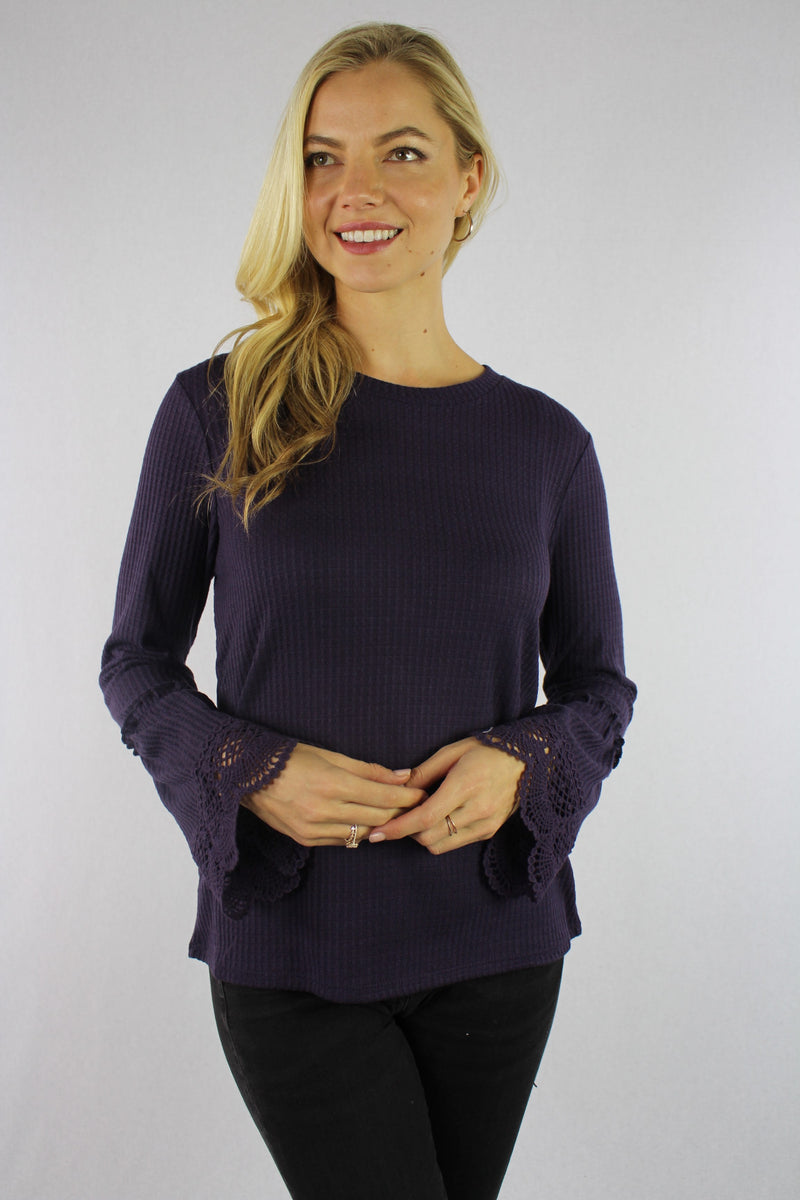 Women's Bell Sleeve Top with Crochet Detail