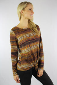 Women's Long Sleeve Top with Front Knot