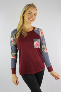 Women's Floral Sleeve Top with Front Pocket