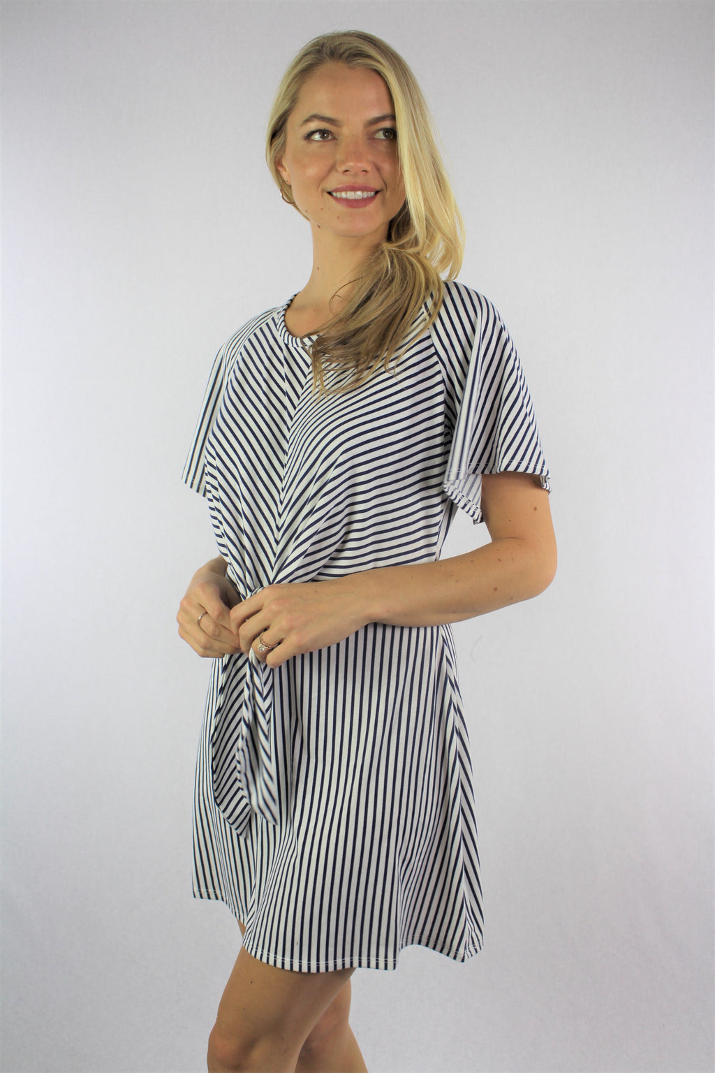 Women's Short Sleeve Mini Dress with Front Knot