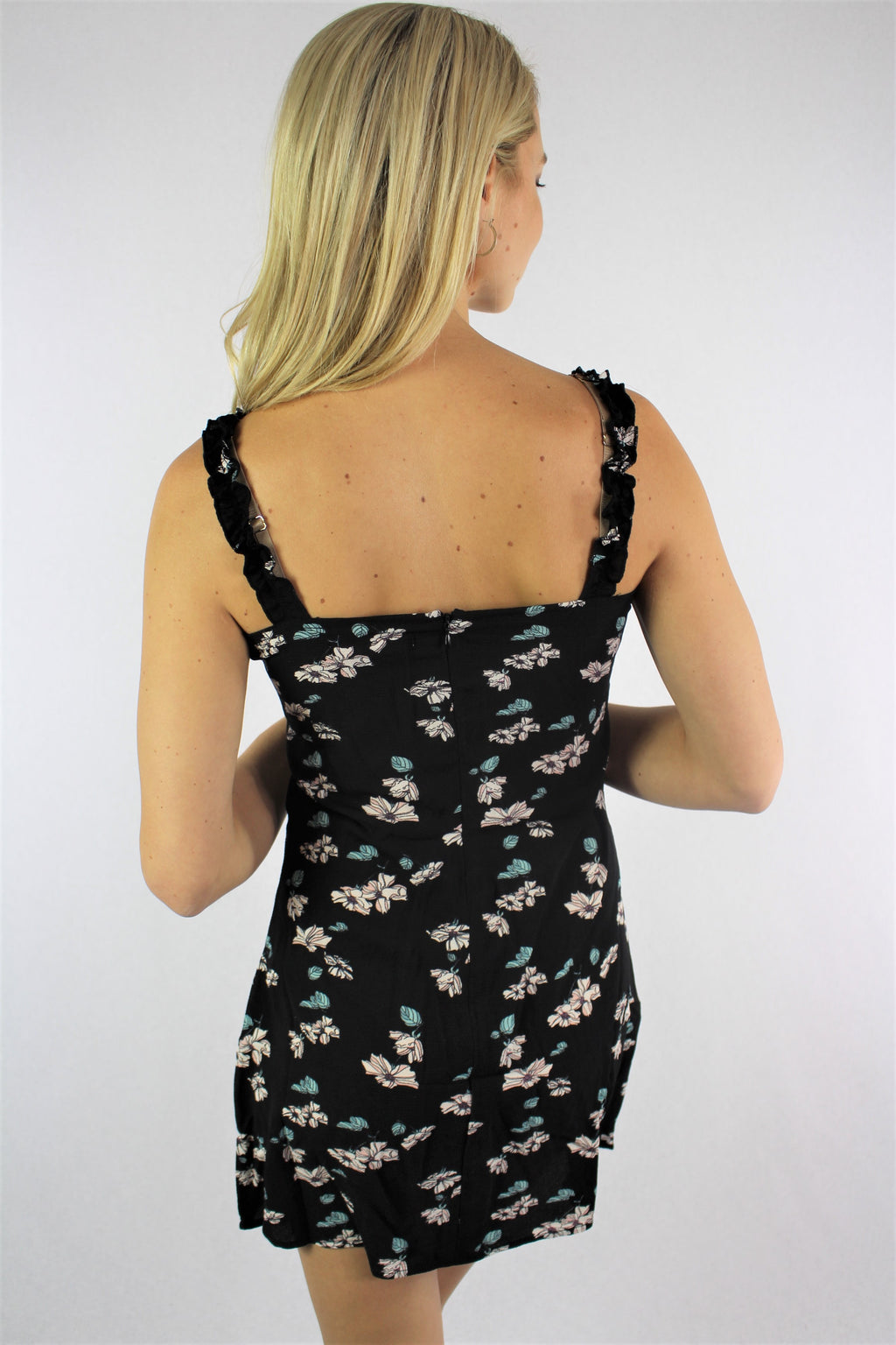 Women's Strappy Floral Mini Dress