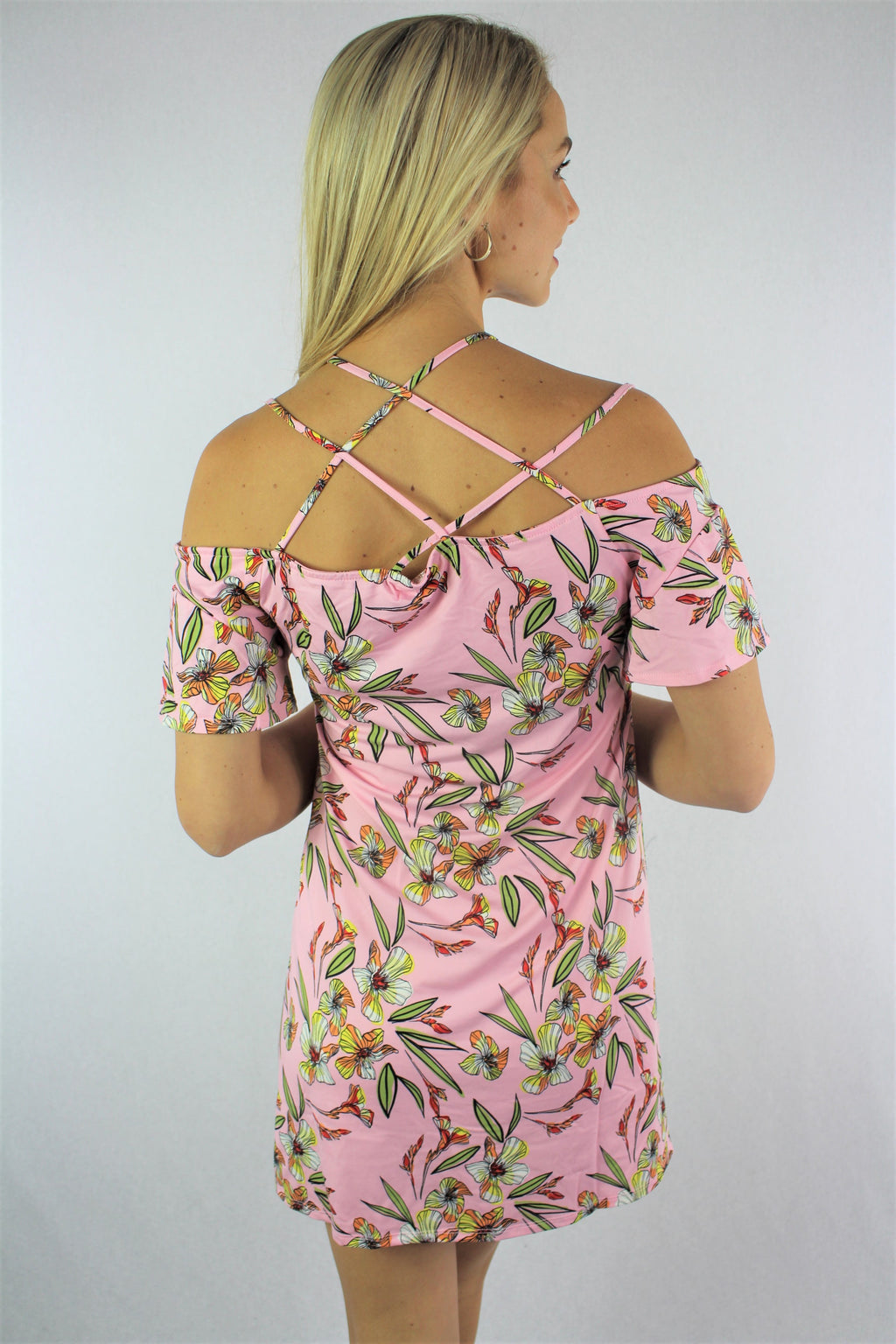 Women's Strappy Cold Shoulder Floral Mini Dress