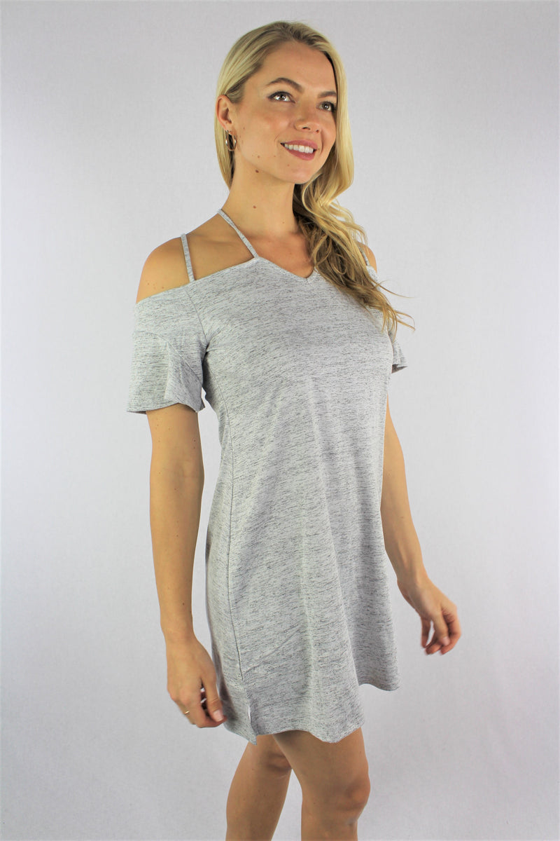 Women's Strappy Cold Shoulder Mini Dress