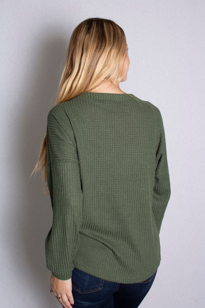 Women's Plus Size Long Sleeve Waffle Knit Top With Button Detail