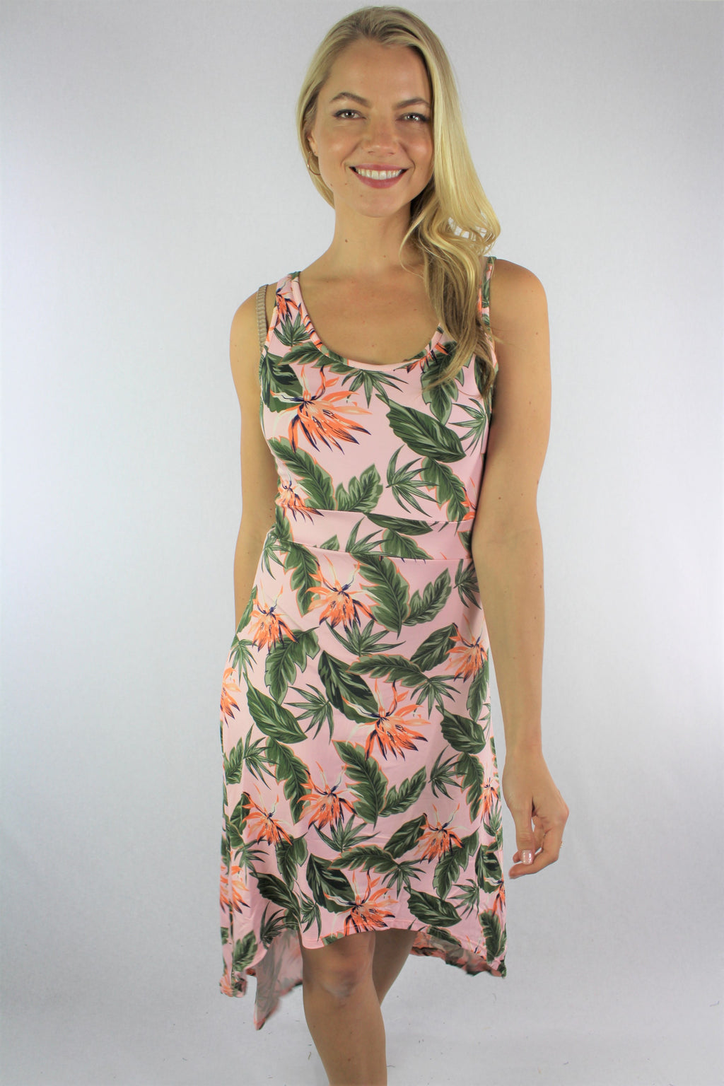 Women's Floral Dress with Uneven Hem