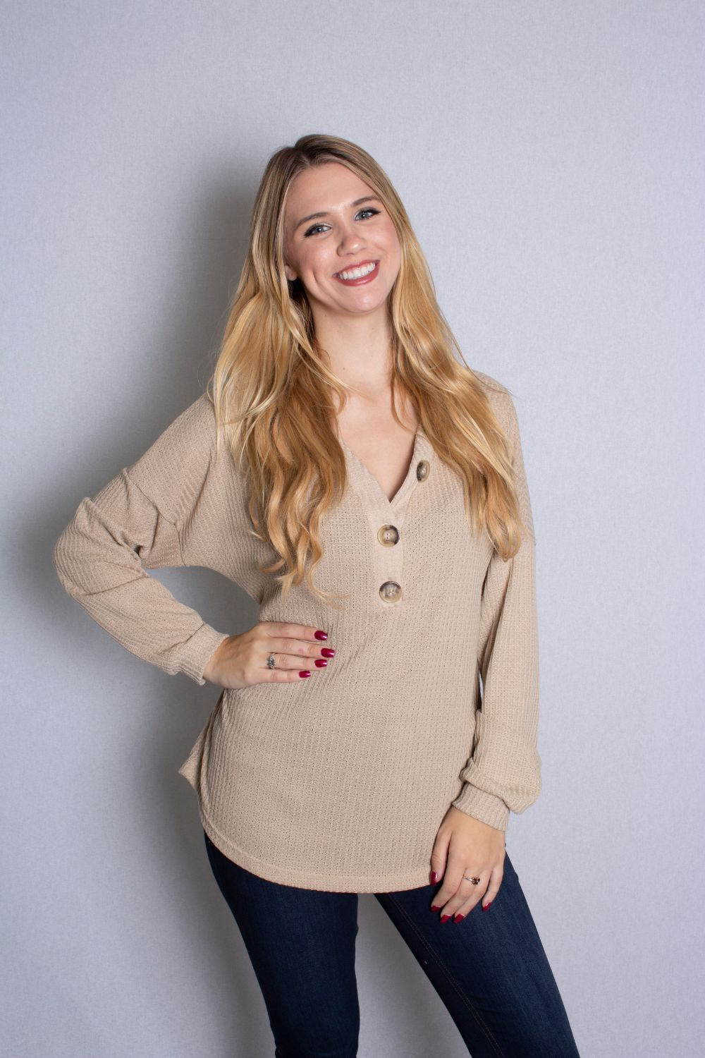 Women's Long Sleeve Waffle Knit Top With Button Detail