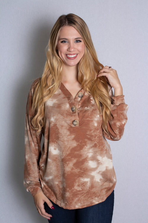 Women's Long Sleeve Tie Dye Top With Button Detail
