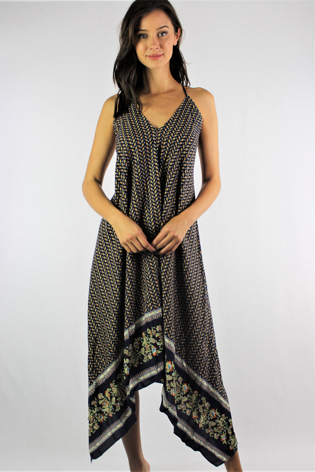 Women's Strappy Printed Hi Low Dress
