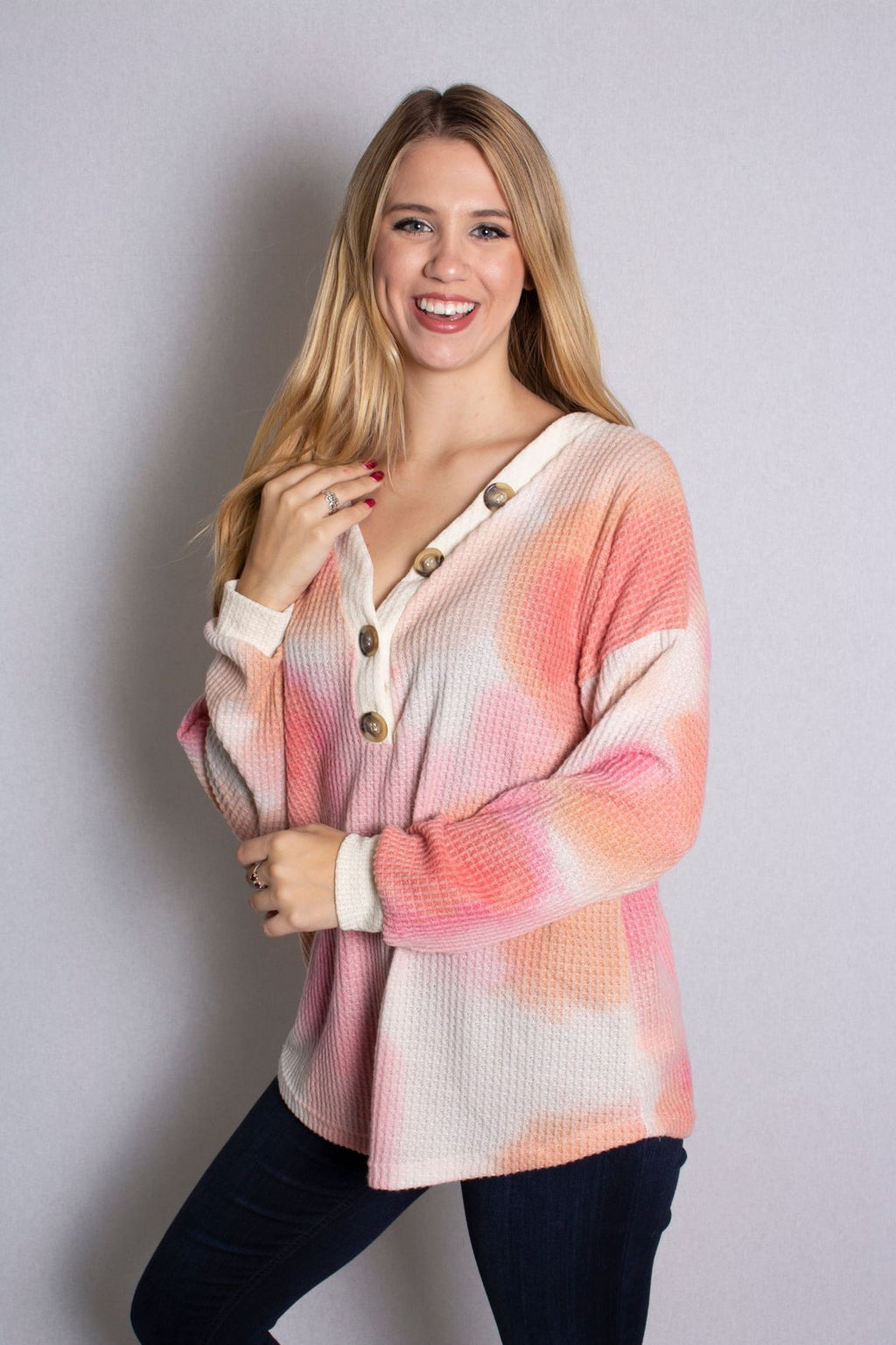 Women's Long Sleeve Tie Dye Waffle Knit Top With Button Detail