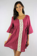 Women's 3/4th Sleeve Dress with Crochet Detail