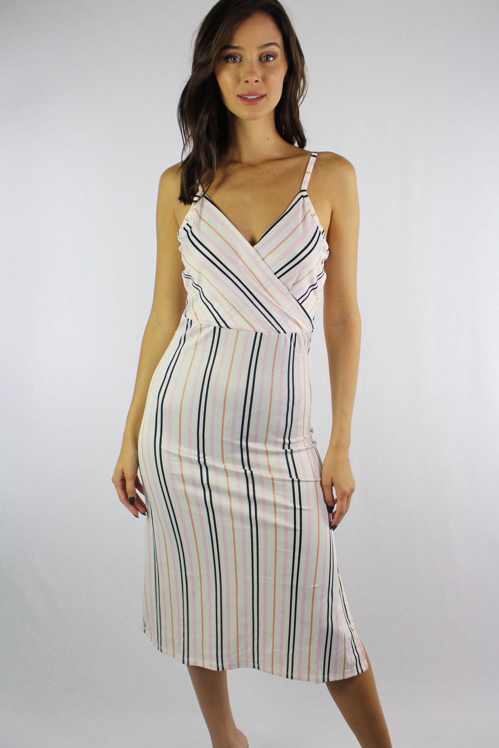 Women's Strappy Vertical Stripe Dress with Ribbon Detail