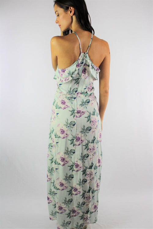Women's Floral Maxi Dress with Ruffle Detail