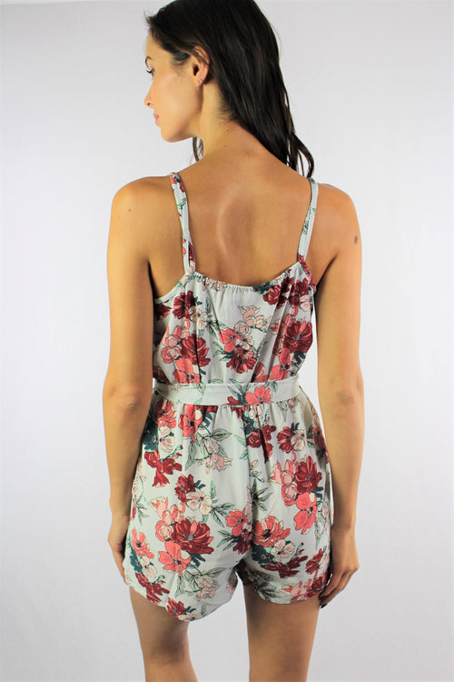 Women's Strappy Floral Romper with Ribbon Detail