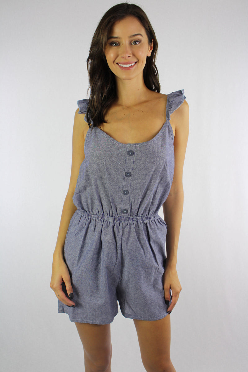 Women's Strappy Romper with String Waist