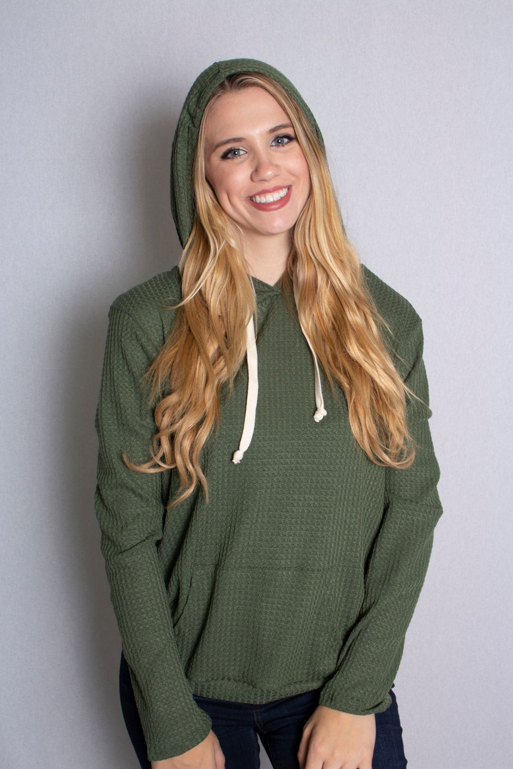 Women's Long Sleeve Waffle Knit Comfy Hoodie