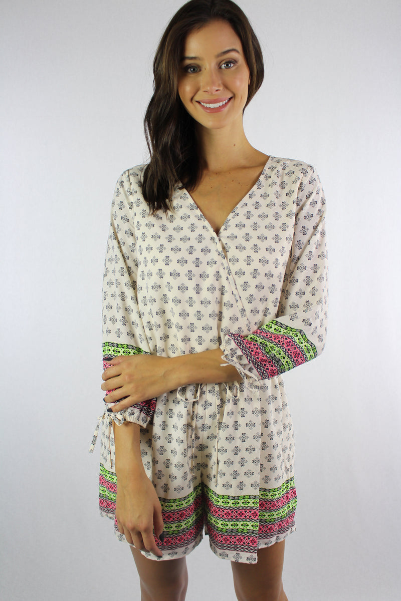 Women's 3/4th Sleeve Printed V Neck Romper