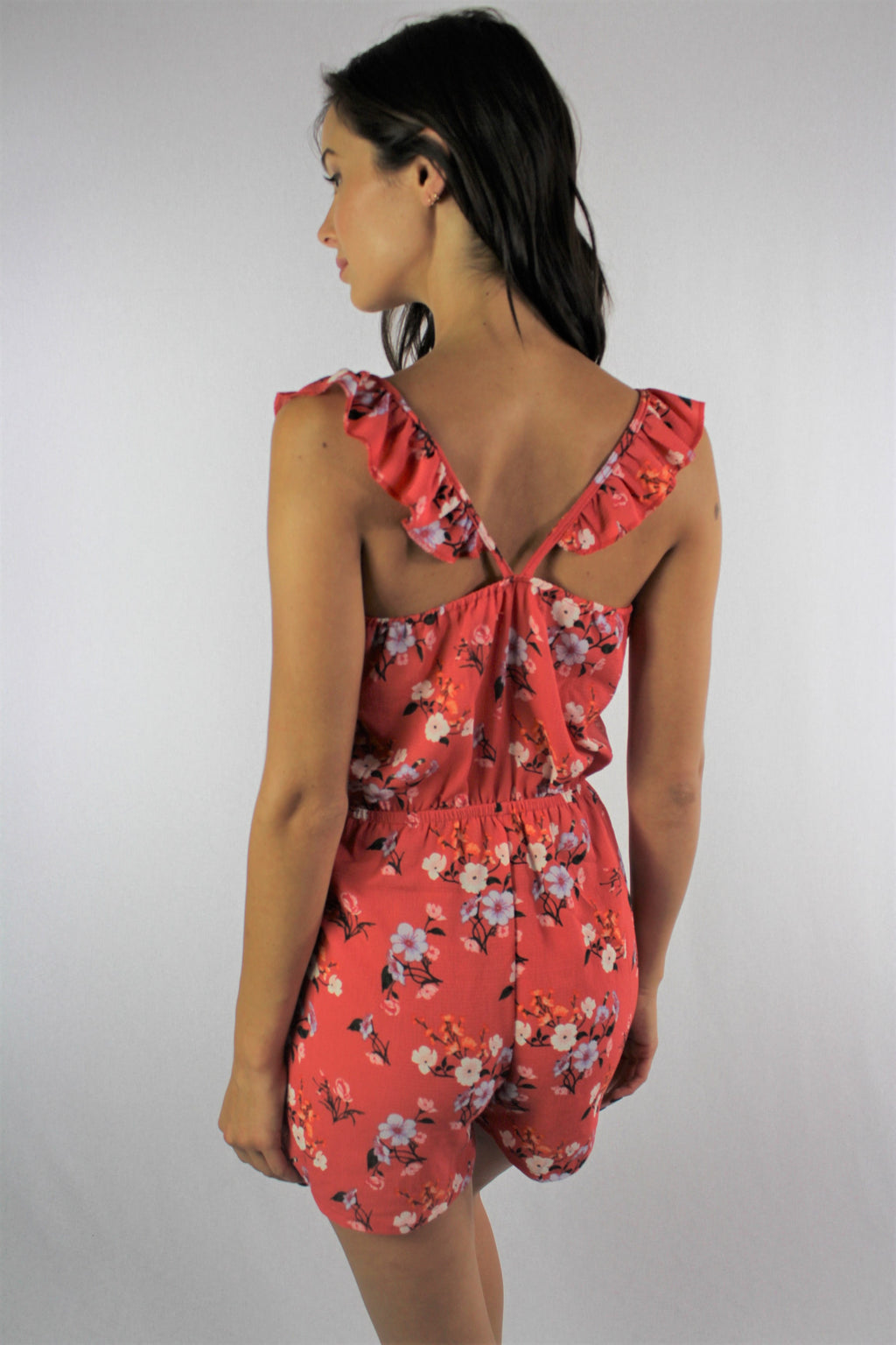 Women's Strappy Floral Romper with String Waist