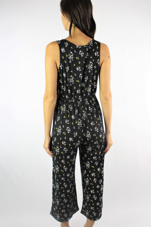 Women's Floral Jumpsuit with Cinched Waist