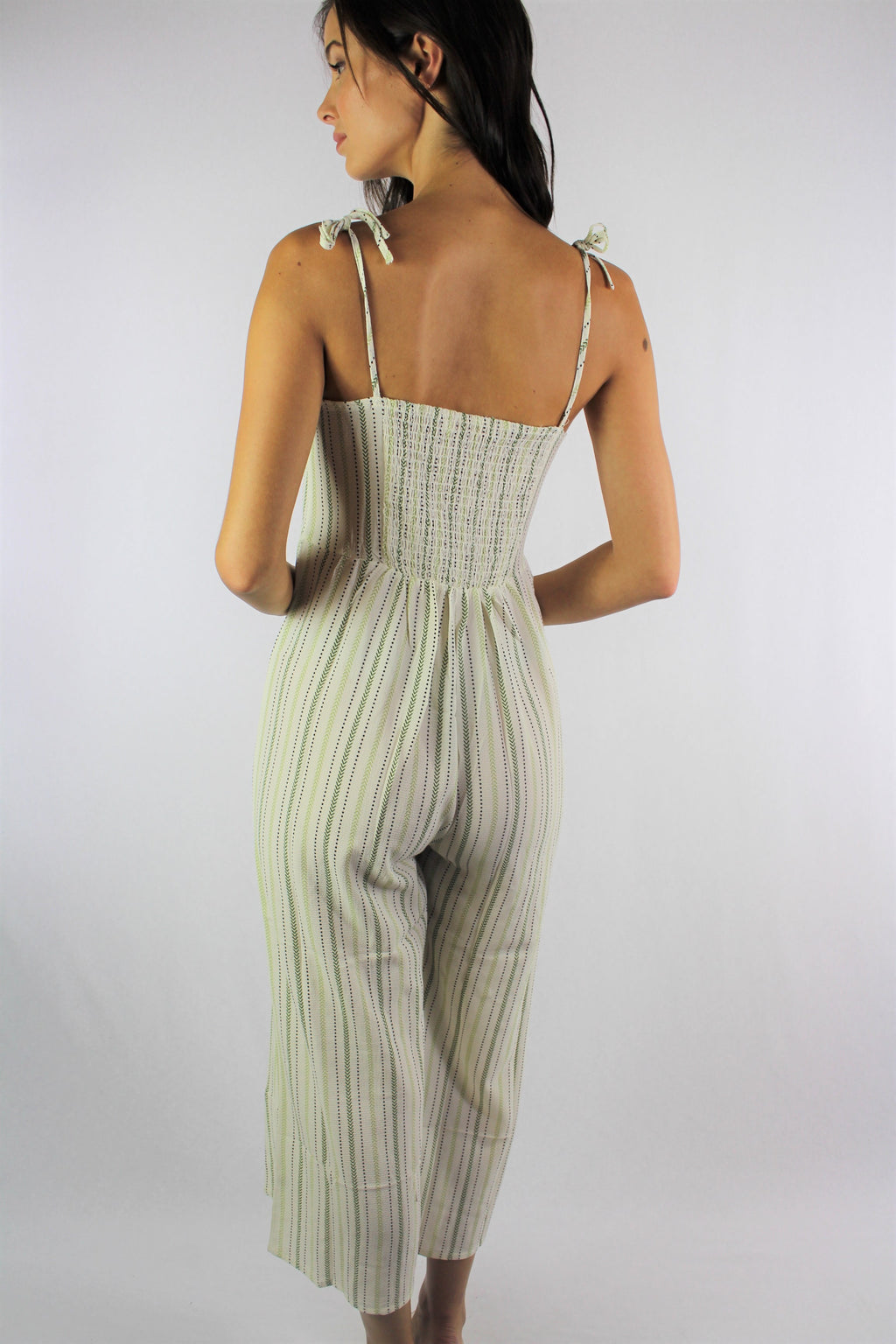 Women's Strappy Vertical Stripe Jumpsuit with Cinched Back