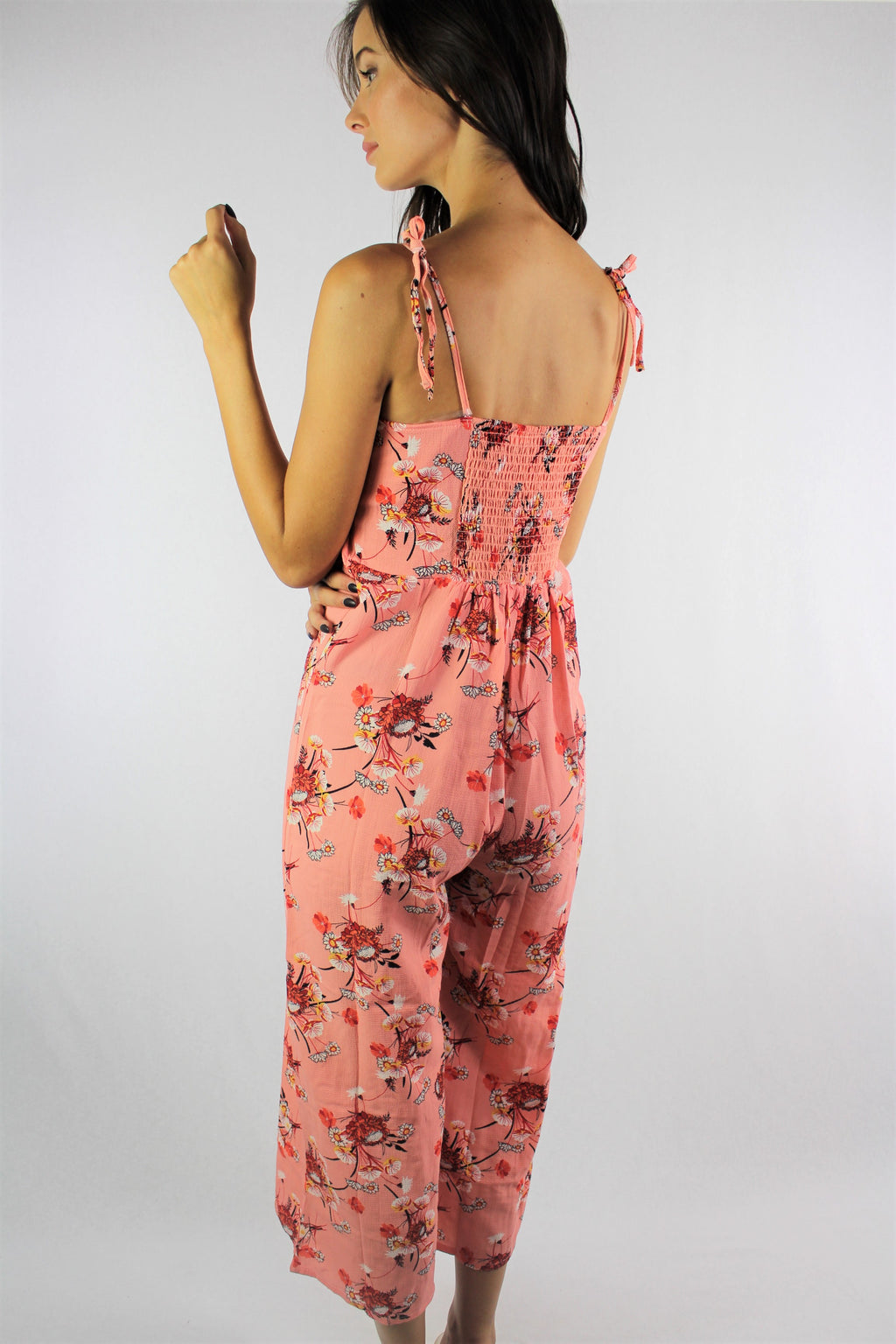 Women's Strappy Floral Print Jumpsuit with Cinched Back