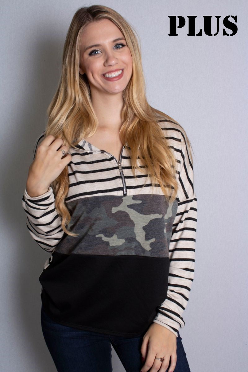 Women's Plus Size Zipped Up Long Sleeves Camo Striped Color Block Top