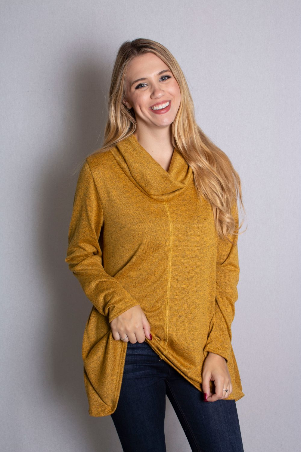 Women's Long Sleeve Cowl Neck Top