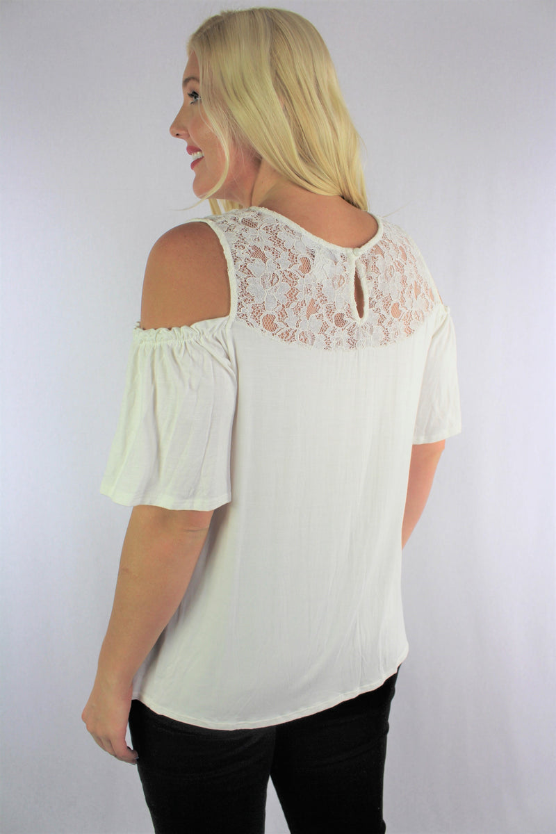 Women's Plus Size Cold Shoulder Top with Lace Detail