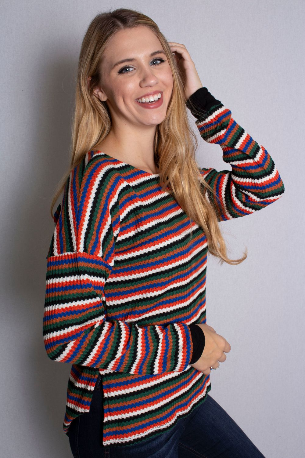Women's Multi Color Long Sleeve Scoop Neck Striped Top