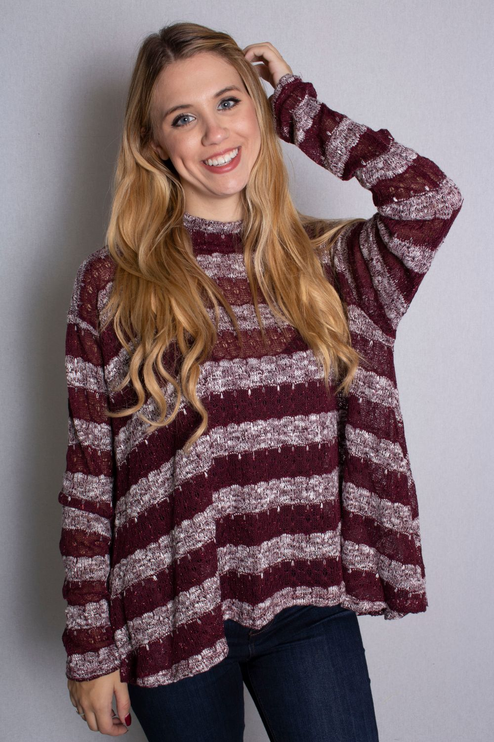 Women's Long Sleeve Mock Neck Striped Top