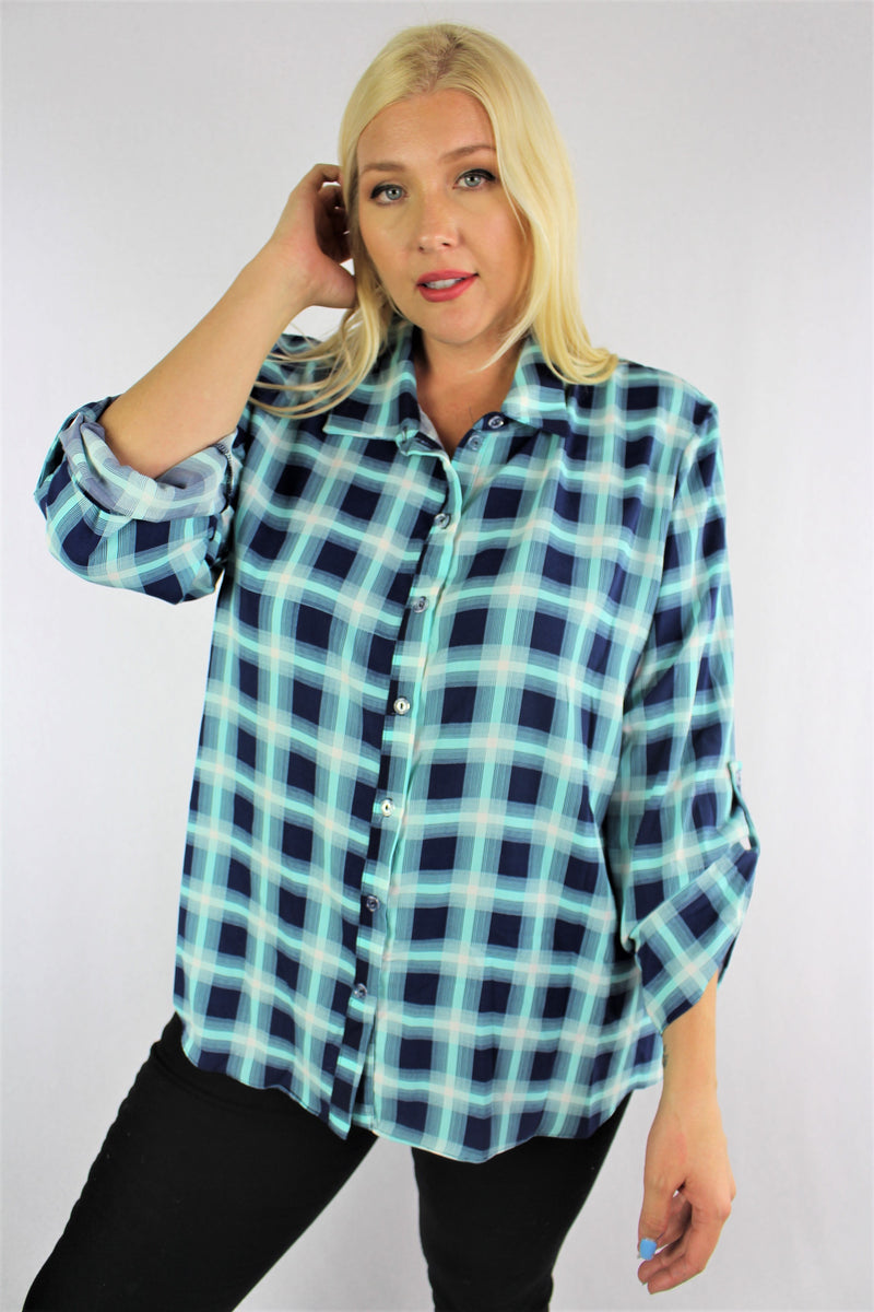 Women's Plus Size 3/4th Sleeve Plaid Top