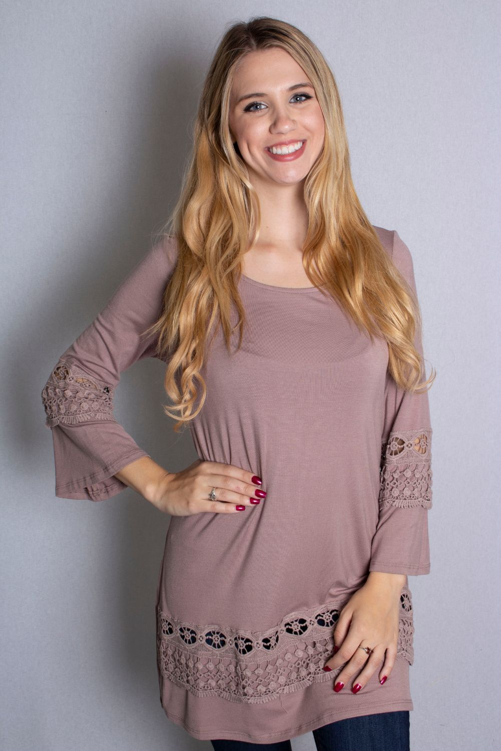 Women's 3/4 Bell Sleeve Top with Crochet Detail