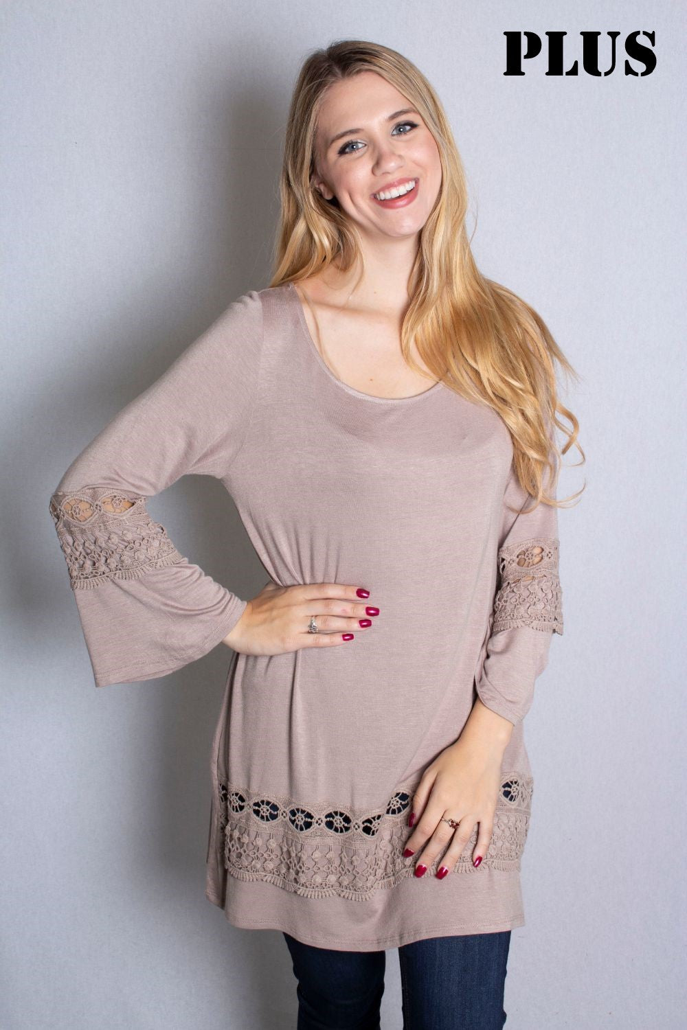 Women's Plus Size 3/4 Bell Sleeve Top with Crochet Detail