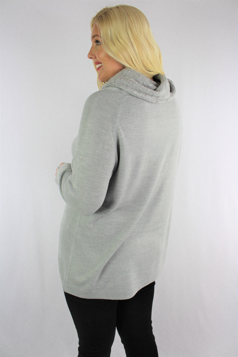 Women's Plus Size Long Sleeve Cowl Neck Top