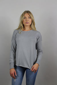long sleeve gray knit top