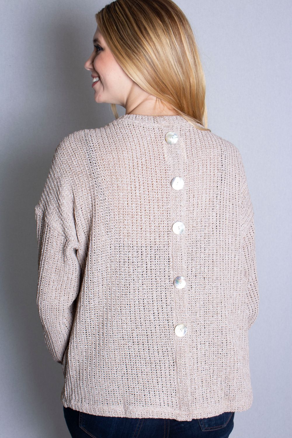 Women's Long Sleeve Sweater with Back Button Detail