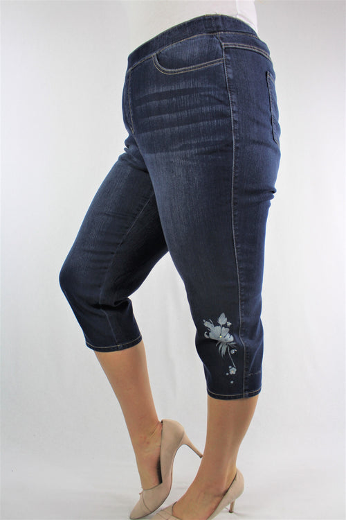 Plus Size Blue Washed Knee Length Denim with Floral Detail