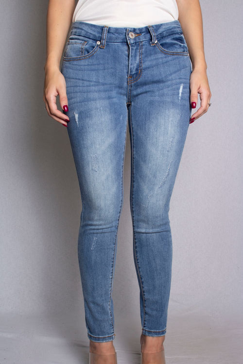Women's Mid Rise Distressed Skinny Jeans