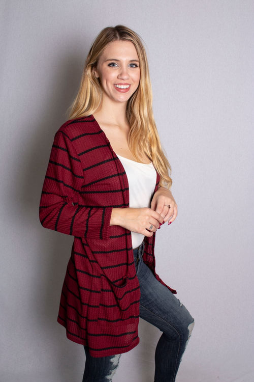 Women's Waffle Knit Cardigan With Pockets