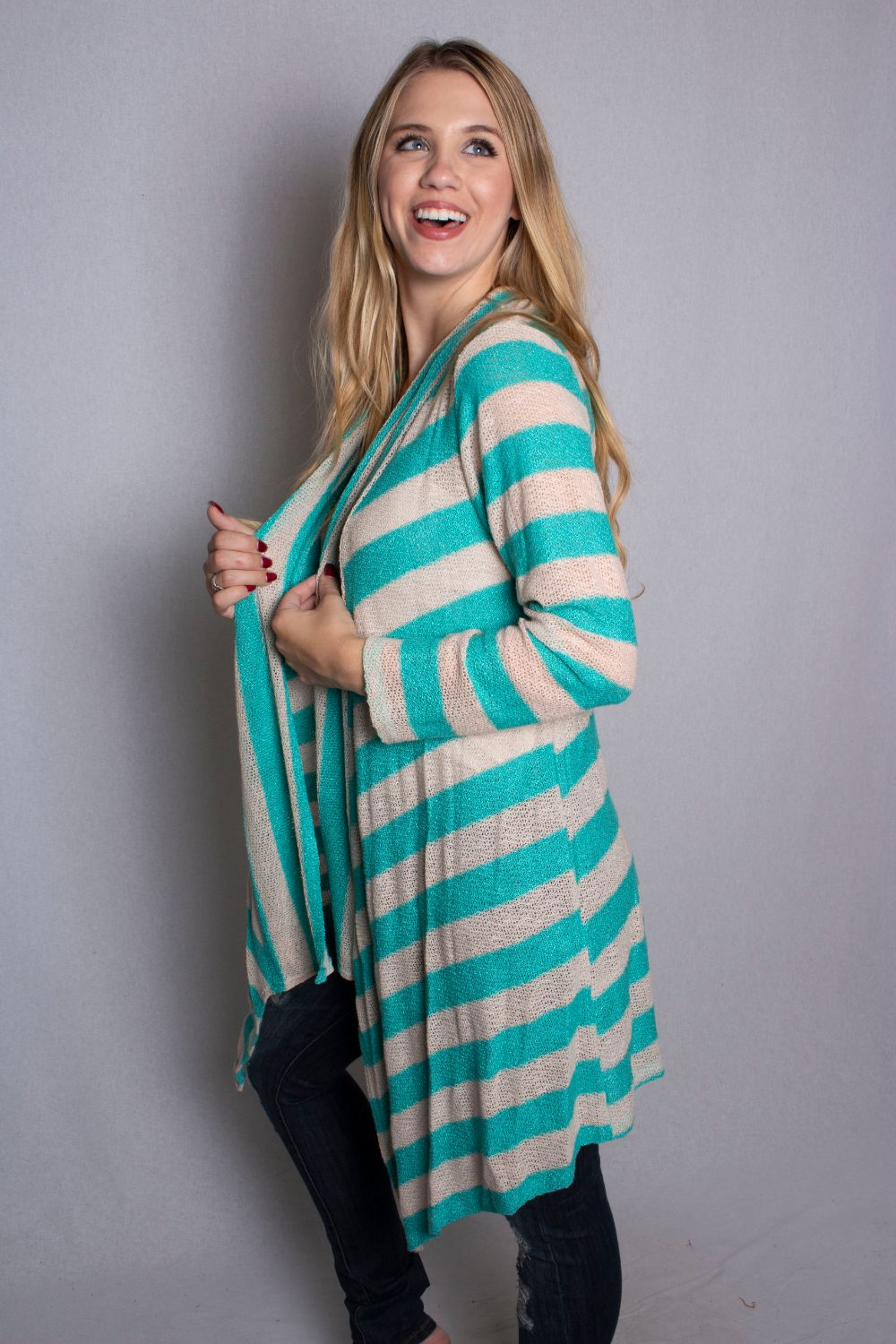Women's Open Front Drape Knit Cardigan