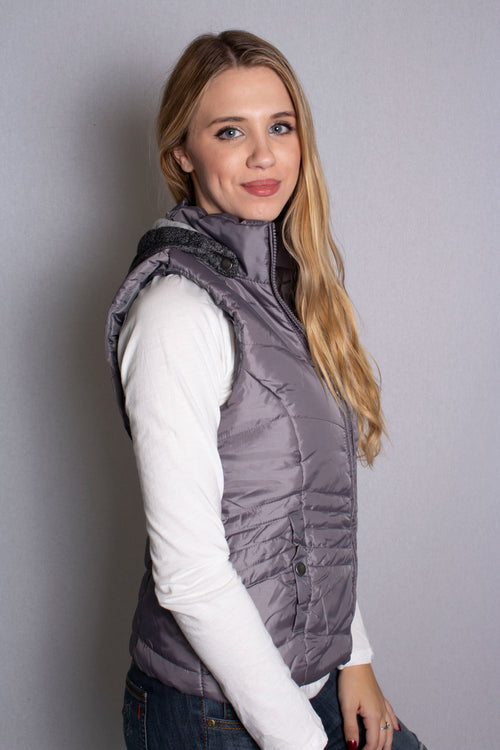 Women's Quilted Puffer Vest with Removable Hood