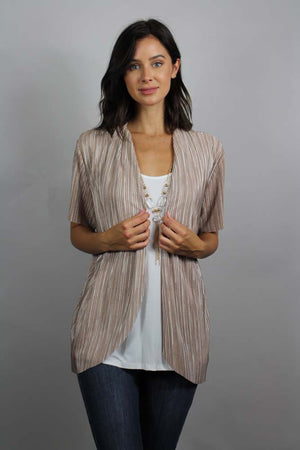 micro fringe cardigan top with attached necklace