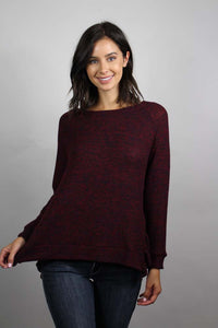 burgundy knit long sleeve