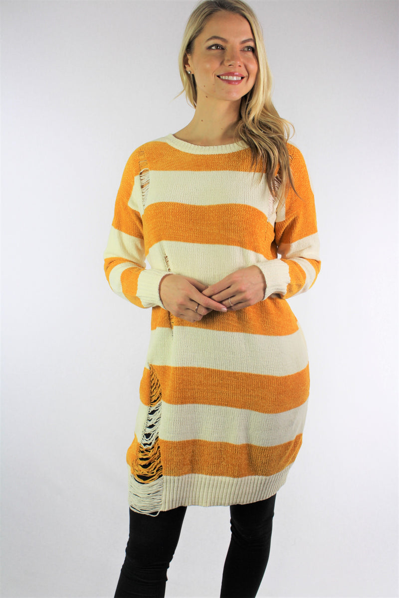 Women's Long Sleeve Sweater Dress with Ripped Detail